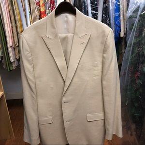 Ralph Lauren beige 100% linen suit, sz 46L trim